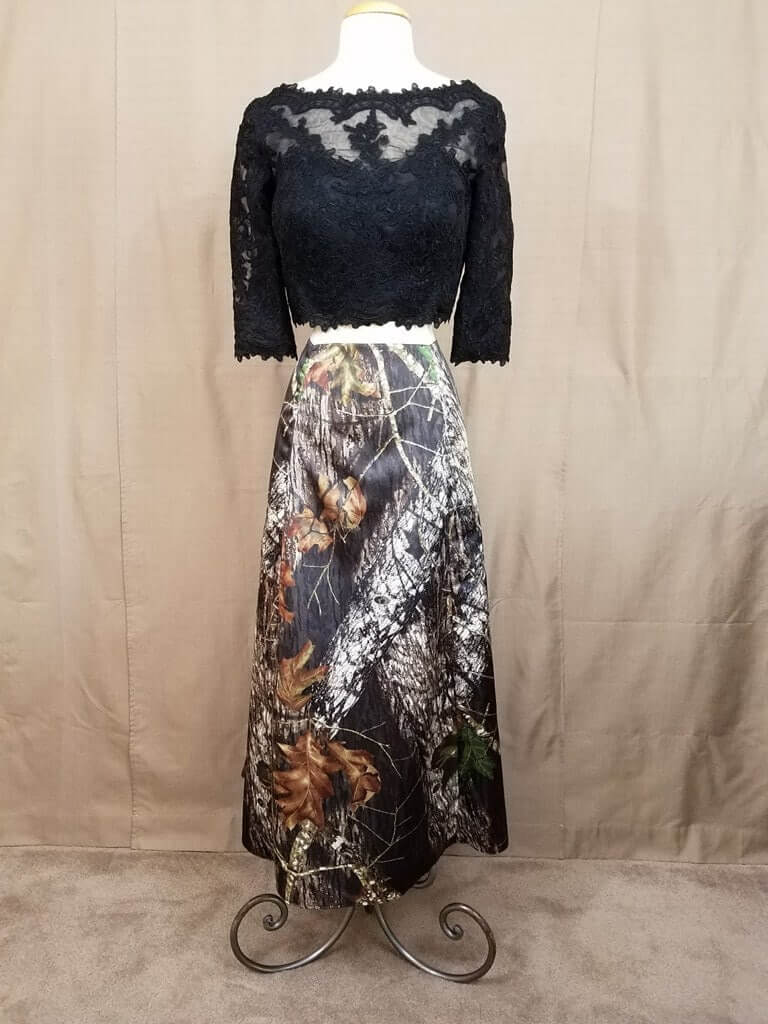 AE-B-5 Full Length Skirt Front Outfit Camo Bridesmaid Skirt (image)
