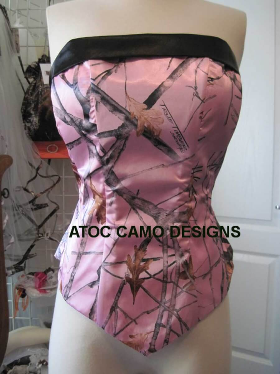 AE-T-1 Camisole Black and True Timber Pink Snow Fall Camo Bridesmaid Camisole (image)